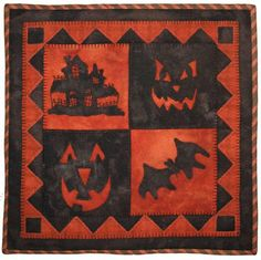 "Hallows Eve, 14 x 14"", wall hanging pattern at Lily Anna Stitches"