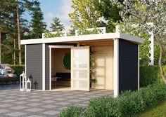 Tuinhuis Schwandorf 3 met dakaanbouw van 240 cm uit de Woodfeeling collectie van het Duitse A-merk Karibu wordt standaard geleverd in de kleur terragrijs wat zorgt voor 100% bescherming van het hout en valt onder de blokhut 5x3 meter modellen. Door zijn unieke ontwerp met de deur op de schuine wand is Schwandorf 3 het perfecte tuinhuisje met overkapping voor plaatsing in een hoek van je tuin. Gazebo, Garage Doors, Shed, Outdoor Structures, Cabin, House Styles, Outdoor Decor, Home Decor, Form