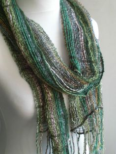 Handwoven Light and Airy Green Summer Scarf by SarahandTheMoon, £40.00