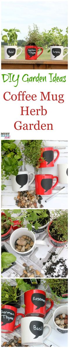 DIY Garden Ideas make your own coffee mug herb garden! This tutorial shows you what you need to do to have a windowsill herb garden on the cheap! This would make an awesome diy Mother's Day gift idea too!!