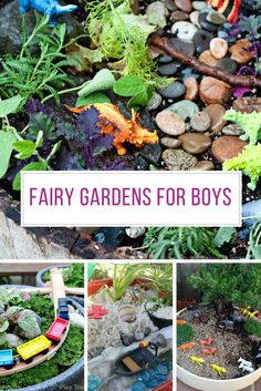 13 Cool Fairy Gardens for Boys to Make! They are Going to Love These Boys like miniature gardens too so be sure to include them in your fairy garden making. See these ideas for dinosaur gardens, and other topics such as trains, Star Wars, Playmobil, anima Kids Fairy Garden, Gnome Garden, Plants For Fairy Garden, Garden Pond, Succulents Garden, Garden Art, Garden Crafts, Garden Projects, Dinosaur Garden