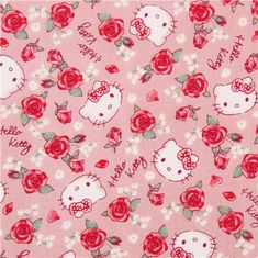 pink beige Hello Kitty rose garden fabric by Kokka  1