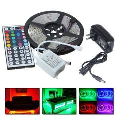 5m Rgb 5050 Water Resistant Led Strip Light Smd With 44 Key Remote 12v Power Supply Color Changing Fle Led Strip Lighting Rgb Led Strip Lights Strip Lighting