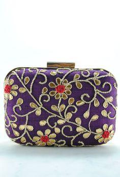 Purple Samsara Gotta Patti Clutch