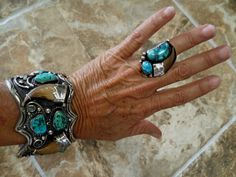 Old Pawn Kingman and Claw Cuff Bracelet by Navajo Harris Joe and Ring by Les Baker (Deceased) Shop; (private collection)