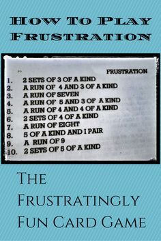 Frustration Card Game Rules - How to play the frustratingly fun card game. It's…