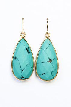 Turquoise bezel earrings