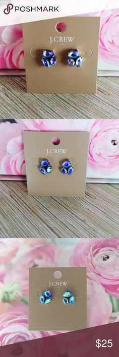 "J. Crew Crystal Trio Earrings Crystal Trio Earrings - these earrings are stunning and surprisingly versatile due to the multitude of colors. GORGEOUS. Factory item. Purple Iridescent  * Zinc, epoxy stone, glass stone. * Light gold ox flash plating. * 1/2""L x 1/2""W. J. Crew Jewelry Earrings"