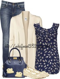"""Blue and Beige"" by mhuffman1282 ❤ liked on Polyvore"