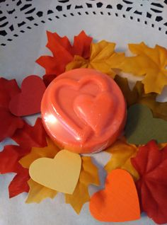 24 Fall wedding hearts with leaves and paper by HeartWarmerCandles