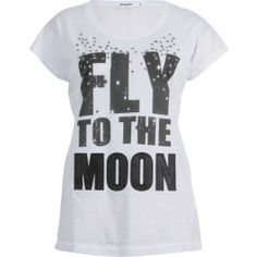 tee shirt, print fly to the moon et clous, manches courtes, col rond, dos en voile
