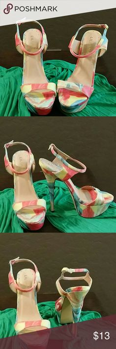 "*SALE * NEW * Liliana * Beautiful * Yellow Multi-Color High Heels * Ankle Strap * 6.5"" Heels Lilana Shoes Heels"