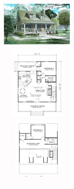House Plan 62118 - Cabin, Country, Southern Style House Plan with 1400 Sq Ft, 2 Bed, 2 Bath The Plan, How To Plan, Country House Plans, Small House Plans, Country Houses, English Country Decor, Cabin Floor Plans, Surface Habitable, Cottage Plan