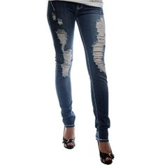 Blue Women Destroyed Stretch Fashion Designer Skinny Jean