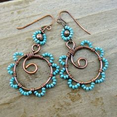 beads on hoops | Bead Dance - wire wrapped antiqued copper hoops with beaded petals in ...
