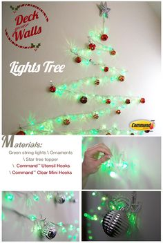 Easy DIY Christmas tree using Command™ Clear Mini Hooks and Utensil Hooks! Save space in an apartment or dorm with a tree of lights on your wall. Wall Christmas Tree, Xmas Tree, Holiday Fun, Christmas Time, Christmas Bulbs, Lighted Star Tree Topper, Diy Weihnachten, Xmas Decorations, Craft Gifts