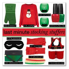 """Stocking Stuffers"" by mmmartha ❤ liked on Polyvore featuring OPI, Paul's Boutique, LSA International, Kate Spade, New Look, Food Network, claire's and Echo"
