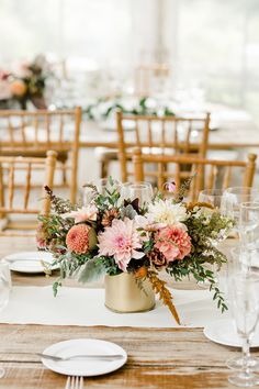 Autumn centerpiece in a gold cylinder on farm tables at the Anthony Wayne House. Grown and designed by Love 'n Fresh Flowers.  Photo by Maria Mack Photography.