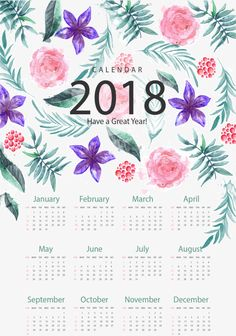 Romantic hand-painted flower calendar template