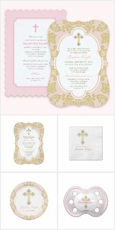 14 best first communion invitations ideas images on pinterest modern baptism invitations and personalized celebration day items for baby girl in pretty shades of pink gray and white stopboris Gallery