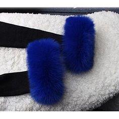 1ec4aafbddc Gegefur Women s Winter real fox Fur Short Wrist Cuff Warmers