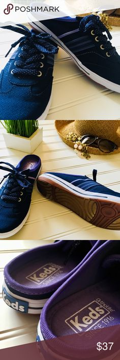 🆕NWOB Keds Ortholite backless slip on sneakers New without box is this super sweet pair of Ortholite Keds. This super adorable pair is backless for easy on and off wear. You will love the memory foam sole to cushion your foot for long summer walks. Featured in size 7, this pair is a classic navy with purple accents—I just adore the sweet polka dot shoe strings! Thank you for your interest! I ❤️offers! Keds Shoes Athletic Shoes