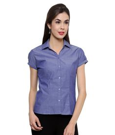 Syda Formal Blue Corporate Wear Shirt for Women