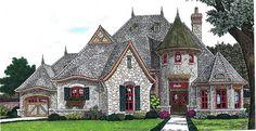 Plan 17578LV: Elegant Curved Turret | Bonus rooms, Pantry and Lofts
