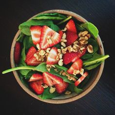 Spinach salad with strawberries and walnuts. Great for Mondays and Tuesdays.