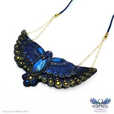 Bluebird of Happiness - Hand sculpted polymer clay and labradorite necklace by wizArts