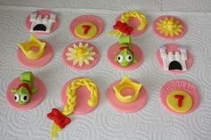 Image detail for -fondant toppers for cupcakes cookies and cake 1 dozen pictures Fondant Toppers, Fondant Cupcakes, Cupcake Cookies, Cupcake Toppers, Tangled Cupcakes, Disney Princess Cupcakes, Rapunzel Birthday Cake, Rapunzel Cake, Girl First Birthday