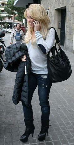 Who made Shakira's jeans and black coat? Jeans – Genetic  Jacket – Moncler Mokacine