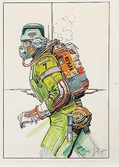 Vintage original spacesuit sketches by Moebius for Alien.