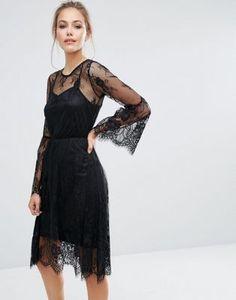 Boohoo Lace Fluted Sleeve Midi Dress