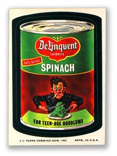 Topps Wacky Packages  9th Series 1974 DeLINQUENT SPINACH