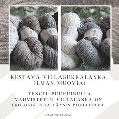 Tencel-puukuituvahvisteinen villalanka on ekologisempi vaihtoehto ja on yhtä kestävää kuin tavallinen keinokuituinen. Crochet Hats, Knitting Hats