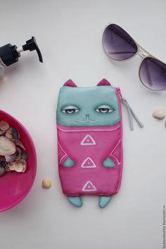 Органайзеры для сумок ручной работы. Кейс розовый кот. Любовь Волошко. Интернет-магазин Ярмарка Мастеров. Рисунок, органайзер