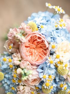 Daisies Roses Billy Balls Hydrangeas Pink Yellow Blue Flowers Bouquet Bride Bridal Spring Pretty Home Made Pastel Floral Wedding http://www.stephanieswannweddings.co.uk/
