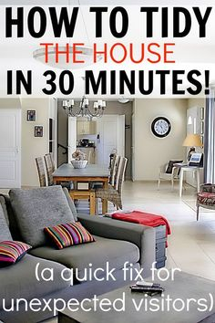 I love using this method when someone calls to drop in for a quick visit! Really works to get the house looking clean in a hurry! How to tidy the house in 30 minutes!