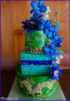 Golden Dragon Wedding Cake