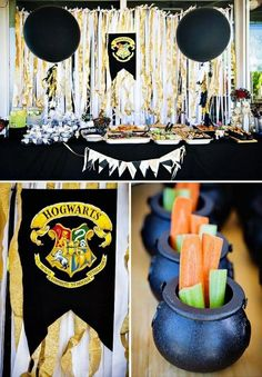 The Hogwarts dessert table at this magical Harry Potter Party will cast a spell on you. Harry Potter Food, Harry Potter Magic, Harry Potter Wedding, Harry Potter Birthday, Giada De Laurentiis, Harry Potter Party Decorations, Birthday Decorations, Anniversaire Harry Potter, Snack