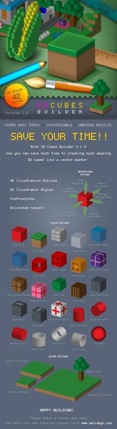 Buy Cubes Builder by weirdeetz on GraphicRiver. With Cubes Builder now you can save much time to creating such amazing cubes like a vector master. Illustrator Tutorials, Adobe Illustrator, Cubes, 3 D, Design Art, Graphic Design, Photoshop Actions, Amazing, Illustration