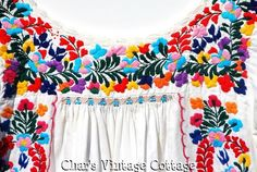 Vintage Oaxacan Mexican Wedding Dress White w Colorful Embroidered Top Festival | eBay