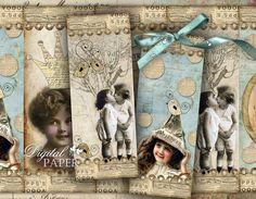 Baby Street set of 6 bookmarks digital collage by bydigitalpaper, $4.35