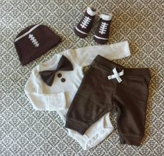 Baby Boy Newborn Take Home Outfit Football by LeopardLaceLove