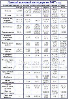 Місячний посівний календар на 2017 рік   таблиця