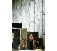 Vintage white wood planks by Koziel. Trompe l'oeil wood wallpaper. Made In France.