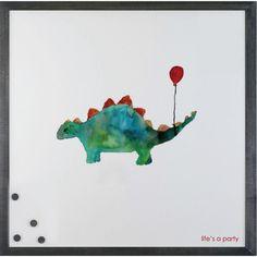 Petal Lane Watercolor Dinosaur Magnetic Board