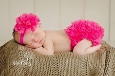 Hot Pink Flower Headband and Chiffon Ruffle Bloomers