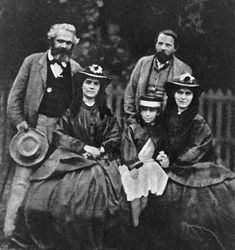 A reproduction from an 1860 daguerreotype shows the founders of Communism, Karl Marx [left] and Friedrich Engels, with Marx's daughters  Picture: RIA Novosti / Alamy  //Rare find//